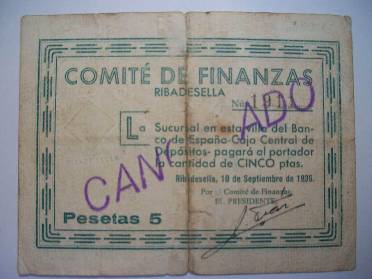 5 Pesetas Ribadesella, 10 Setiembre 1936. (¿Billete español o billete de necesidad? ) Comit_de_finanzas_de_Ribadesella_5_Ptas_Anv
