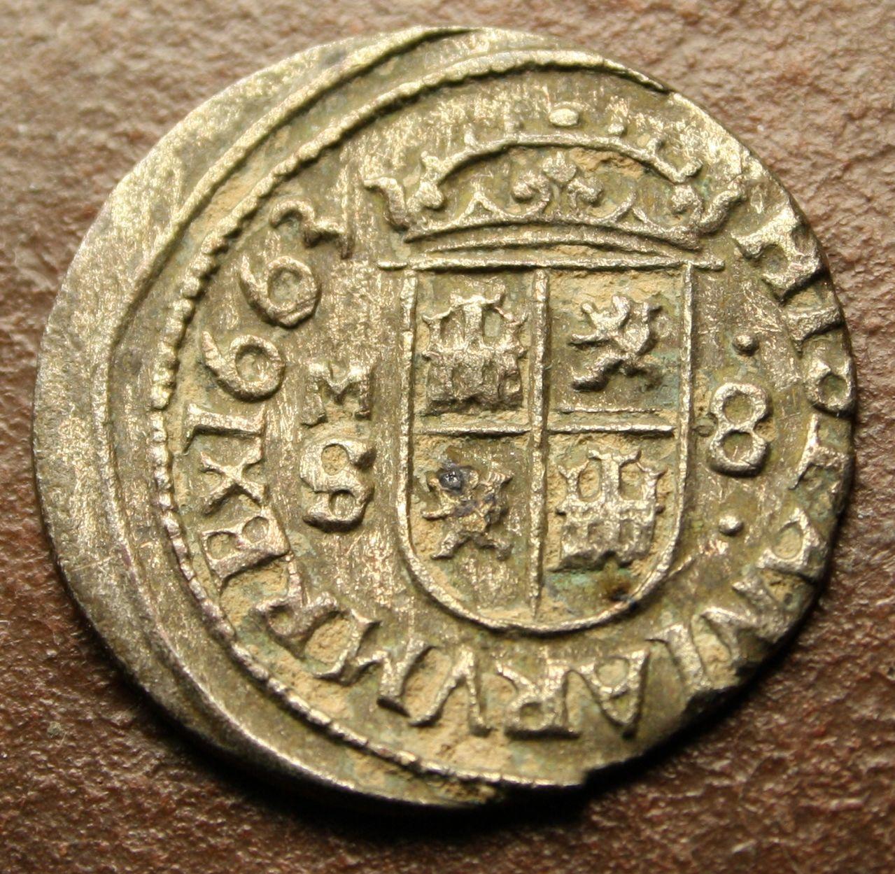 8 maravedís 1663. Felipe IV. Madrid Reverso