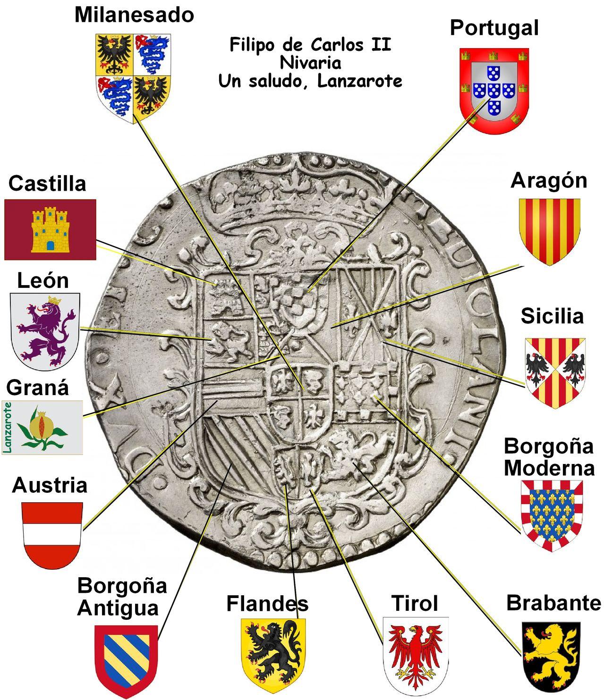 Filippo 1694 Carlos II Milanesado - Dedicada a Lanzarote Filipo_nivaria_escudos