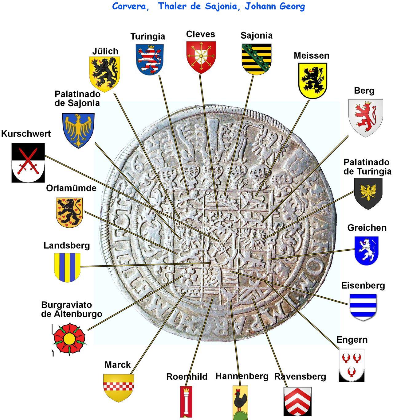 1 Thaler de Sajonia de 1624, Johann Georg I Corvera3_escudos