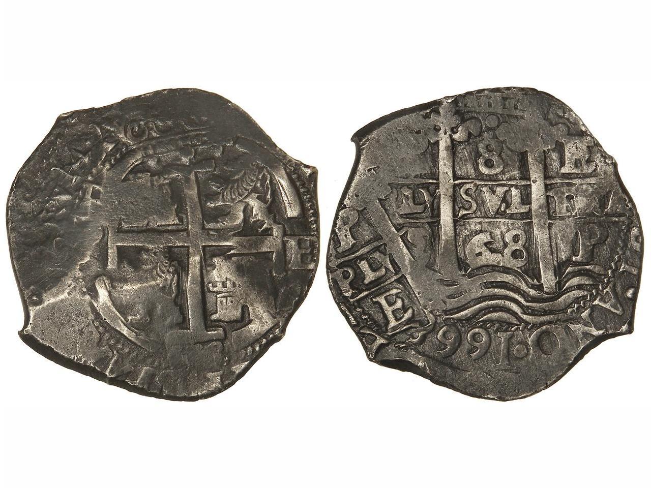 8 reales 1668 de Carlos II. Potosí. Tipo macuquina. Dedicada a Harpomarx Foto_subasta