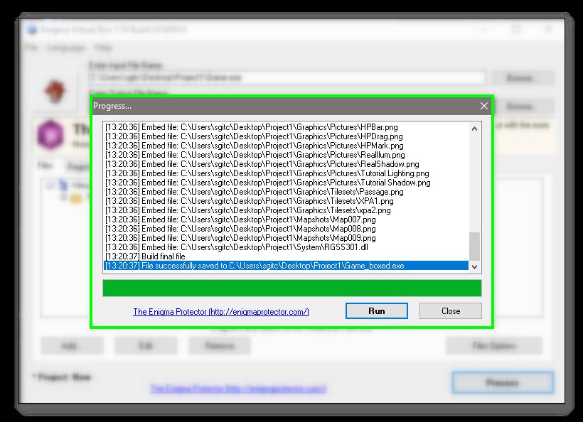 Tutorial: Empaquetar con Enigma Virtual Box 5___Process