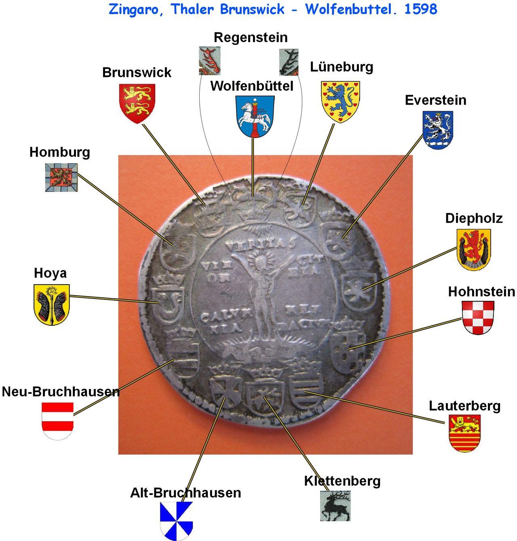 1 Thaler. Estado Alemán Brunswick-Wolfenbuttel. 1598 Brunwor_zingaro_desglosado