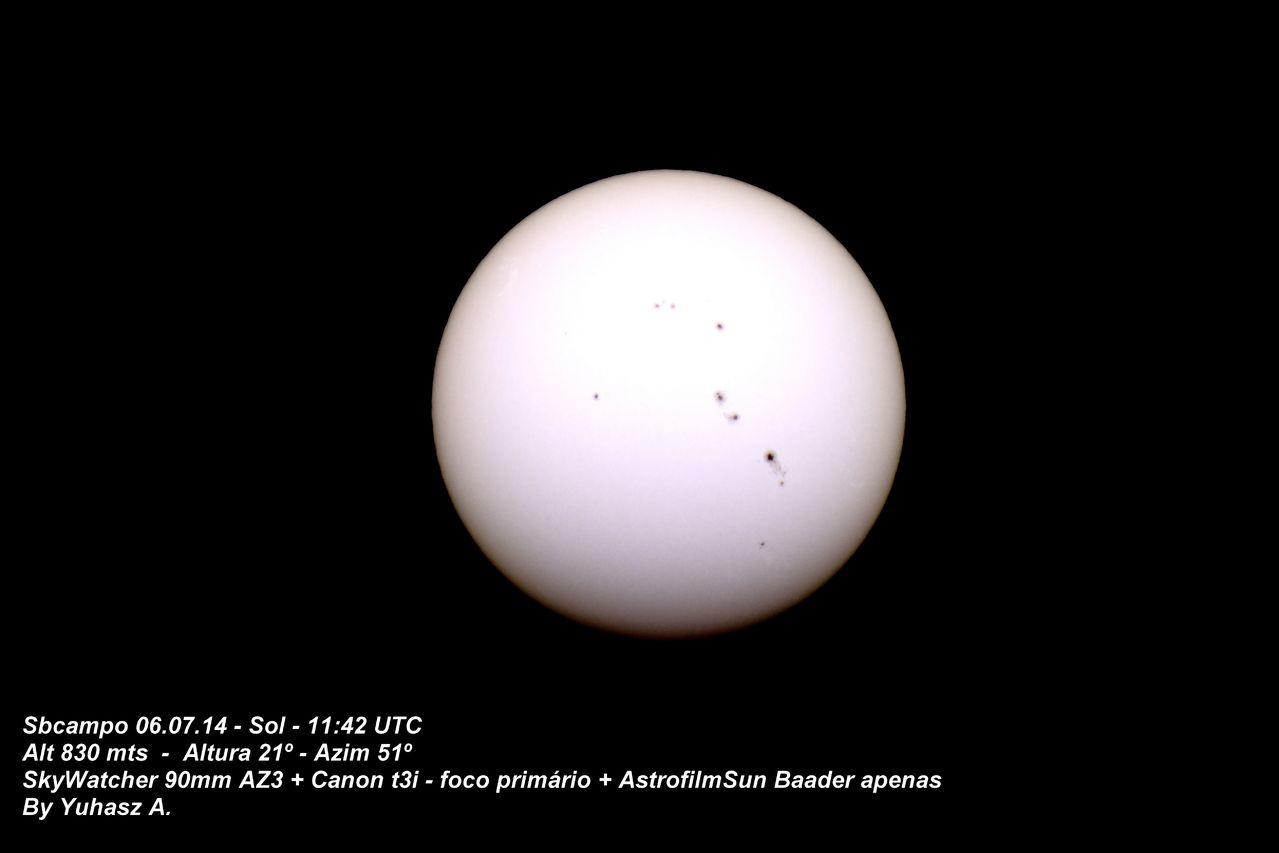 Observação Solar. SOL_06_07_14_APENAS_ASTROFILMBAADER_PUBLICACAO