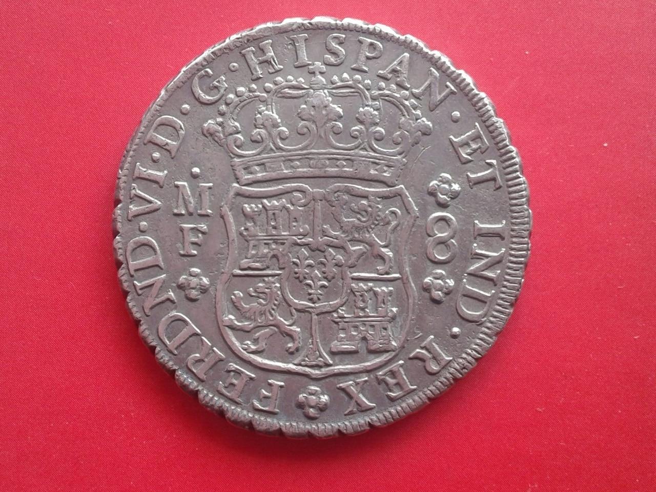 8 Reales 1754 MF Méjico (Columnario) Fernando VI dedicado a Miguelf Rev