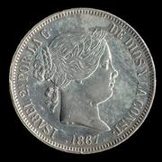 2 escudos 1867. Isabel II. Madrid 2_escudos_isabel