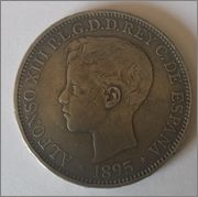 1 Peso 1895  Alfonso XIII - Puerto Rico Anversopeso