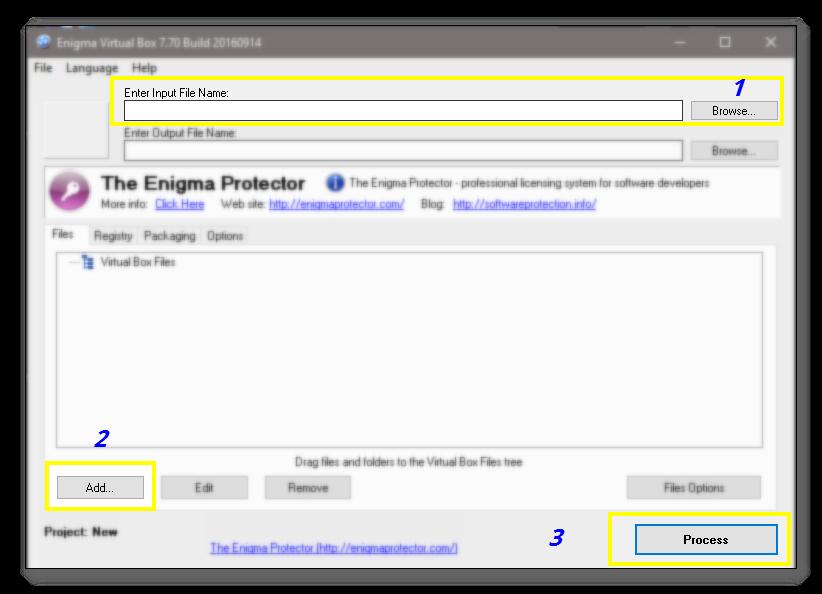 Tutorial: Empaquetar con Enigma Virtual Box 2___Interface