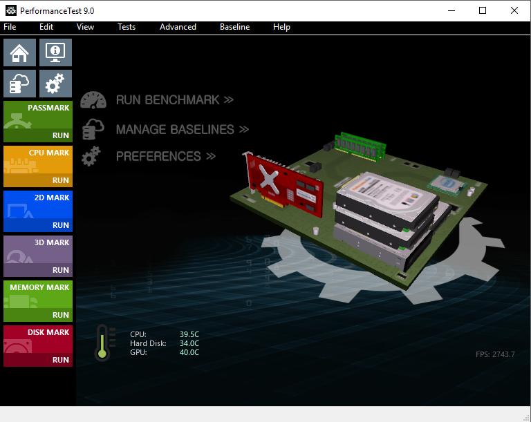 PassMark PerformanceTest 9.0 Build 1019 x64 Pt9_mainscreen