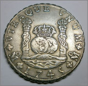 8 Reales Felipe V 1745 Mexico MF P6250108