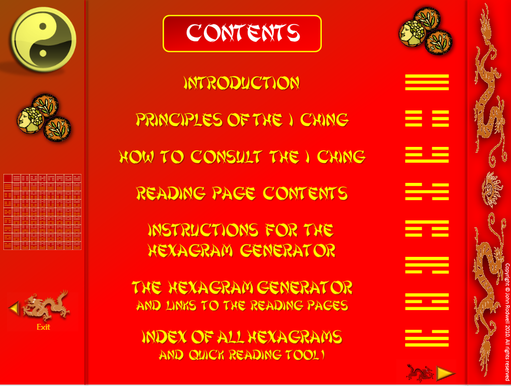 I CHING TODAY - Not exactly a game, but somthing you can use Contents