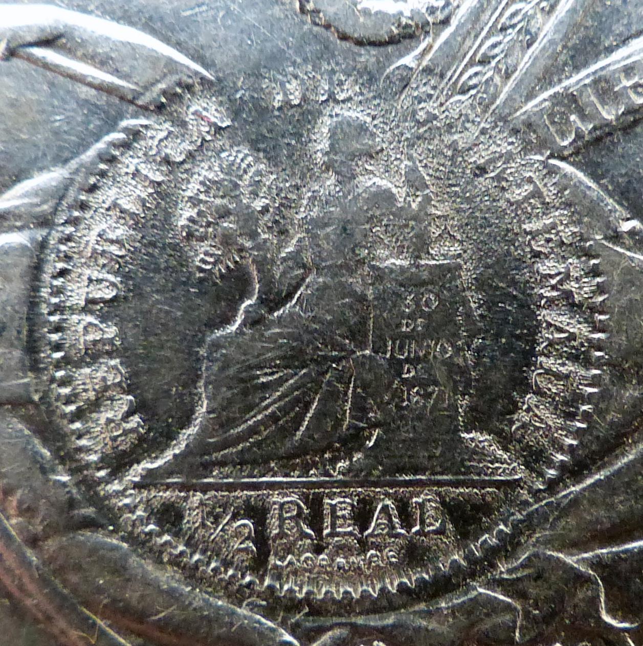 Perú - Un sol - 1890 - Resello 1/2 real - Guatemala - 1894 P1110841