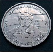 Argentina - 2 pesos 2007 - 25 Aniversario - Ocupación de las Islas Malvinas P1040086