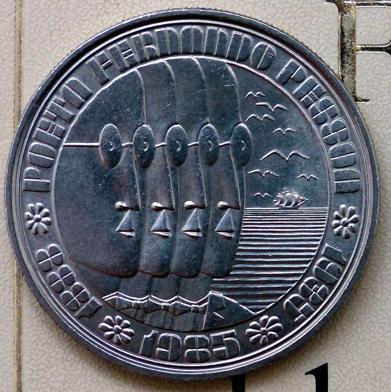 100 escudos-1985 - 50 aniversario fallecimiento Fernando Pessoa - Portugal Pessoa_r