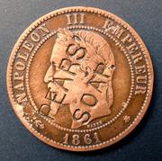 Post II: Medalla Satírica Napoleón III. Fin del II Imperio Francés. Sedán 1870. 10_cts_1861_r