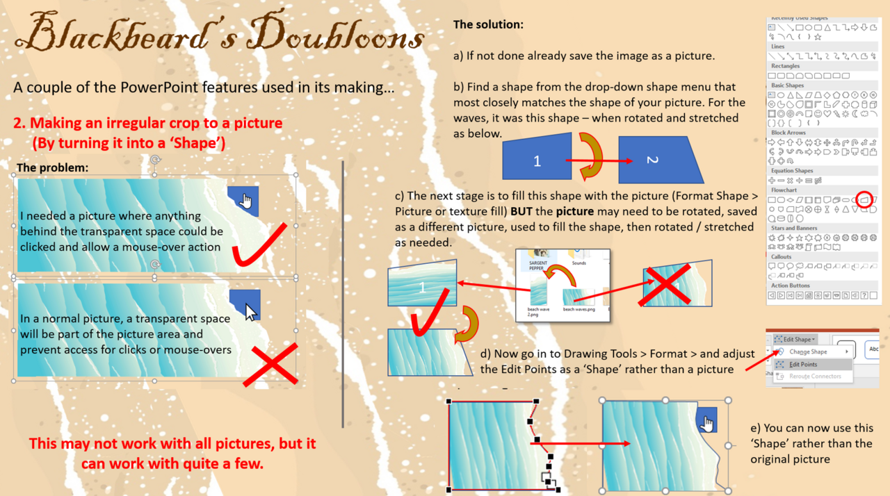 Two PowerPoint features from 'Blackbeard's Doubloons' Blackbeard_tutorial_pic_2