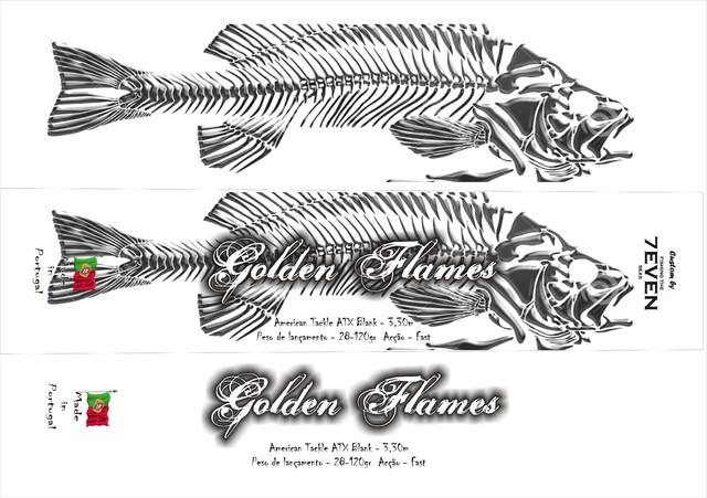 Golden Flames - Micro Wave on a Surfcasting rod Goldenflames_graphicmaster