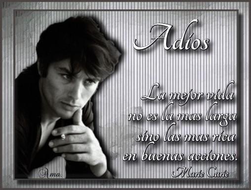 Alain Delon con Frase Adios