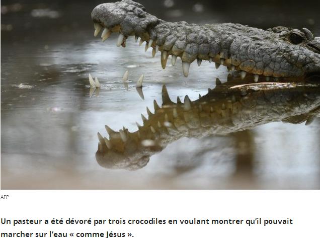 Un pasteur tué par des crocodiles en voulant marcher sur l'eau comme Jésus Image