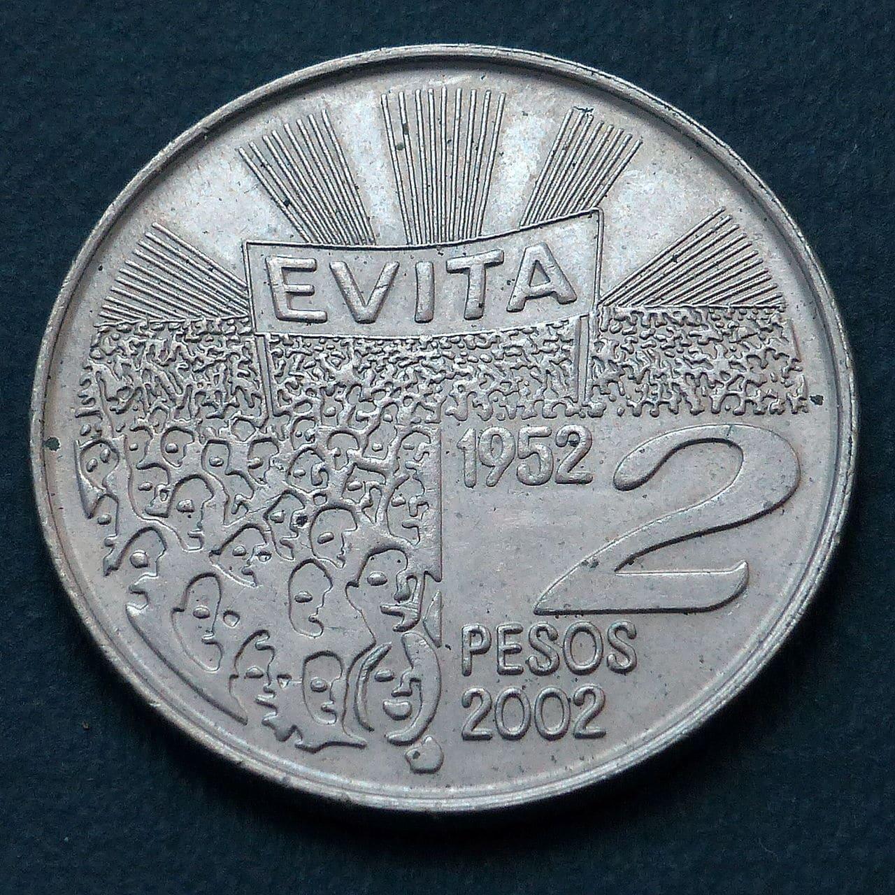 Argentina - 2 pesos 2002- 50 Aniversario - Muerte de María Eva Duarte de Perón P1040083
