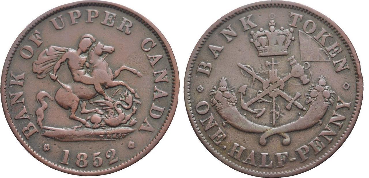 1/2 Penique del Alto Canadá. 1852 Canada