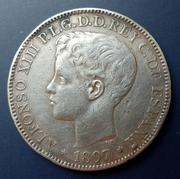 1 peso 1897 Alfonso XIII. Manila, Filipinas 1Peso-1897-r
