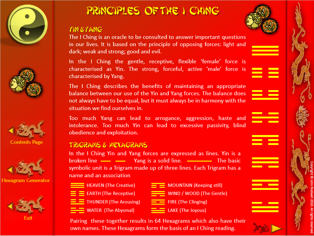 I CHING TODAY - Not exactly a game, but somthing you can use Principles