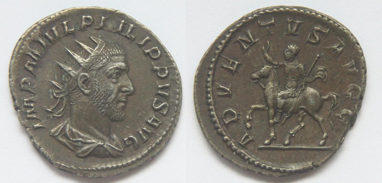 Antoniniano de Filipo I. ADVENTVS AVGG. Roma 238
