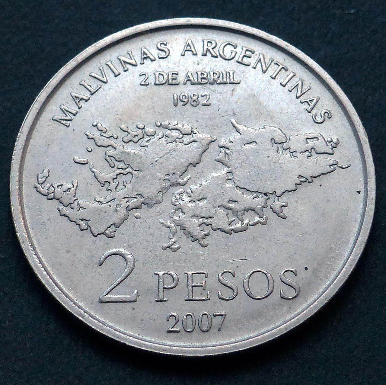 Argentina - 2 pesos 2007 - 25 Aniversario - Ocupación de las Islas Malvinas P1040085