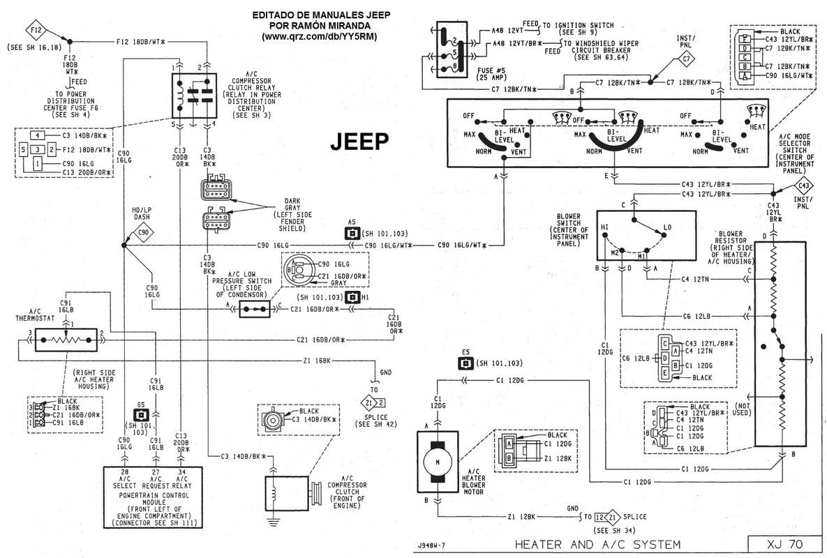 Diagrama eléctrico y conectores del motor Jeep XJ 1991 - 1996. A_A_Jeep_XJ_91_96