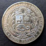 Perú - 5 pesetas - 1880 5_Pesetas1880-a