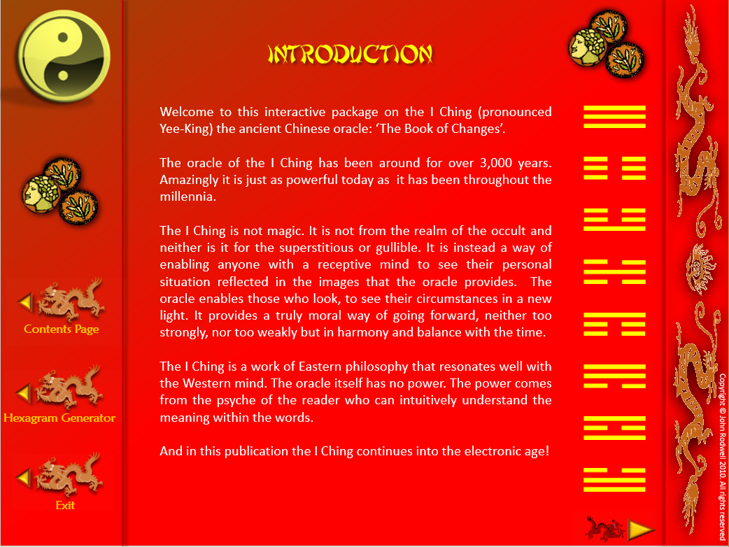 I CHING TODAY - Not exactly a game, but somthing you can use Intro