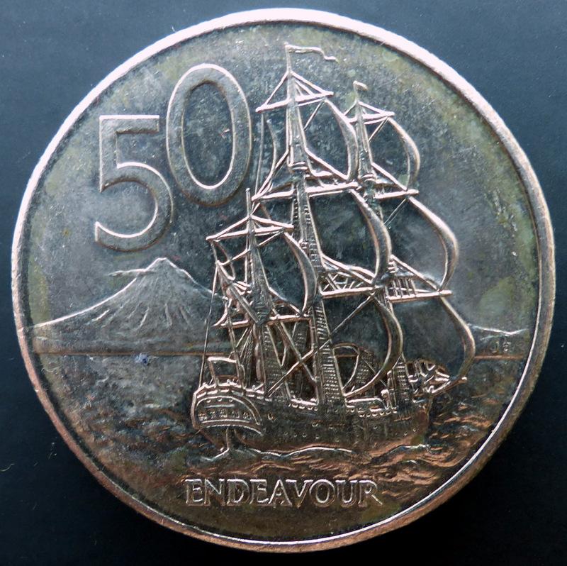 """Nueva Zelanda - 50 cents. - 1981 - """"Endeavour"""" 50_cents_a"""