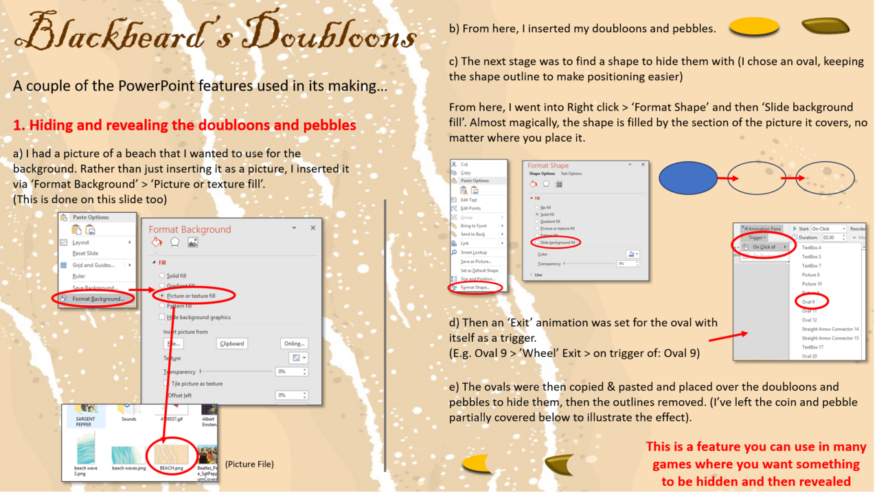 Two PowerPoint features from 'Blackbeard's Doubloons' Blackbeard_tutorial_pic_1