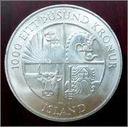 Islandia - 1000 krónur - 1974 - 1100 aniversario del asentamiento en la isla 1000_kronur_r
