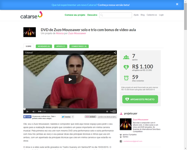 Zuzo busca apoio na internet para projeto ZUZO