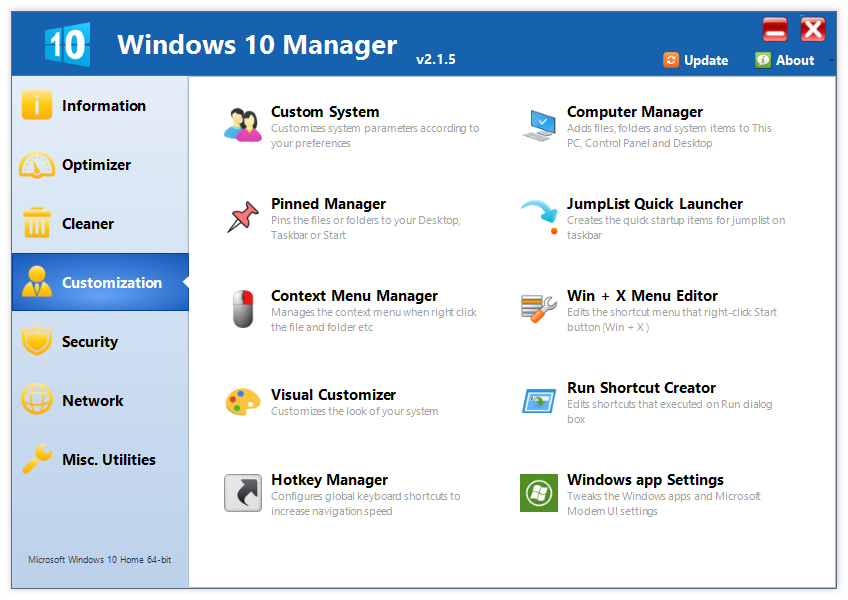 Yamicsoft Windows 10 Manager 2.1.5 Multilingual 00739