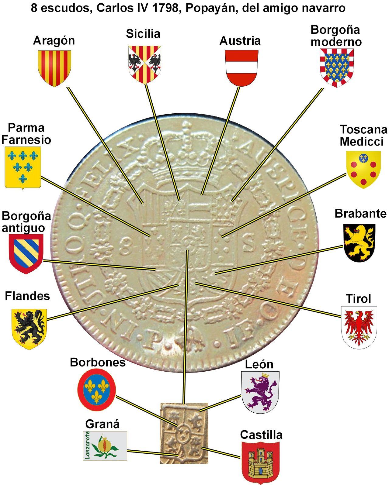8 ESCUDOS CARLOS IV 1798 Navarro