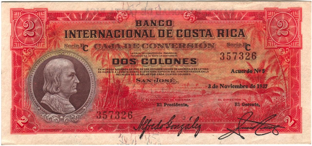 Costa Rica 2 pesos 1937 CRica2a