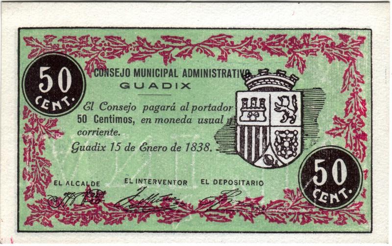 50 Céntimos Guadix. 1838 - 1938 (Primera guerra Carlista) Guadix1