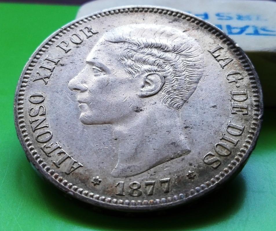 5 pesetas 1877. Alfonso XII. DE M 5_pts_1877_2