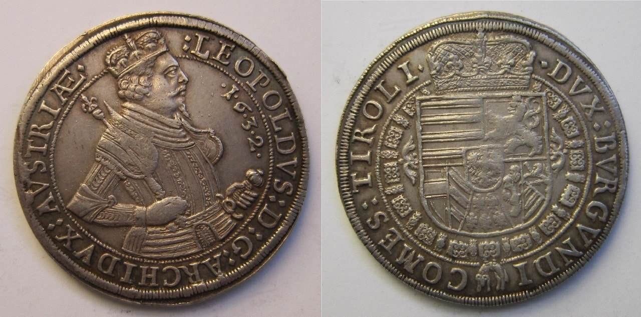 1 Thaler.  Archiduque Leopoldo de Austria. 1632 1_Thaler_Leopoldo_1632