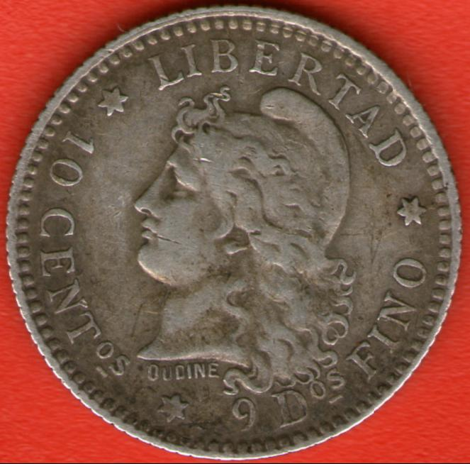 10 Centavos de Patacón. Argentina. 1883 Anv