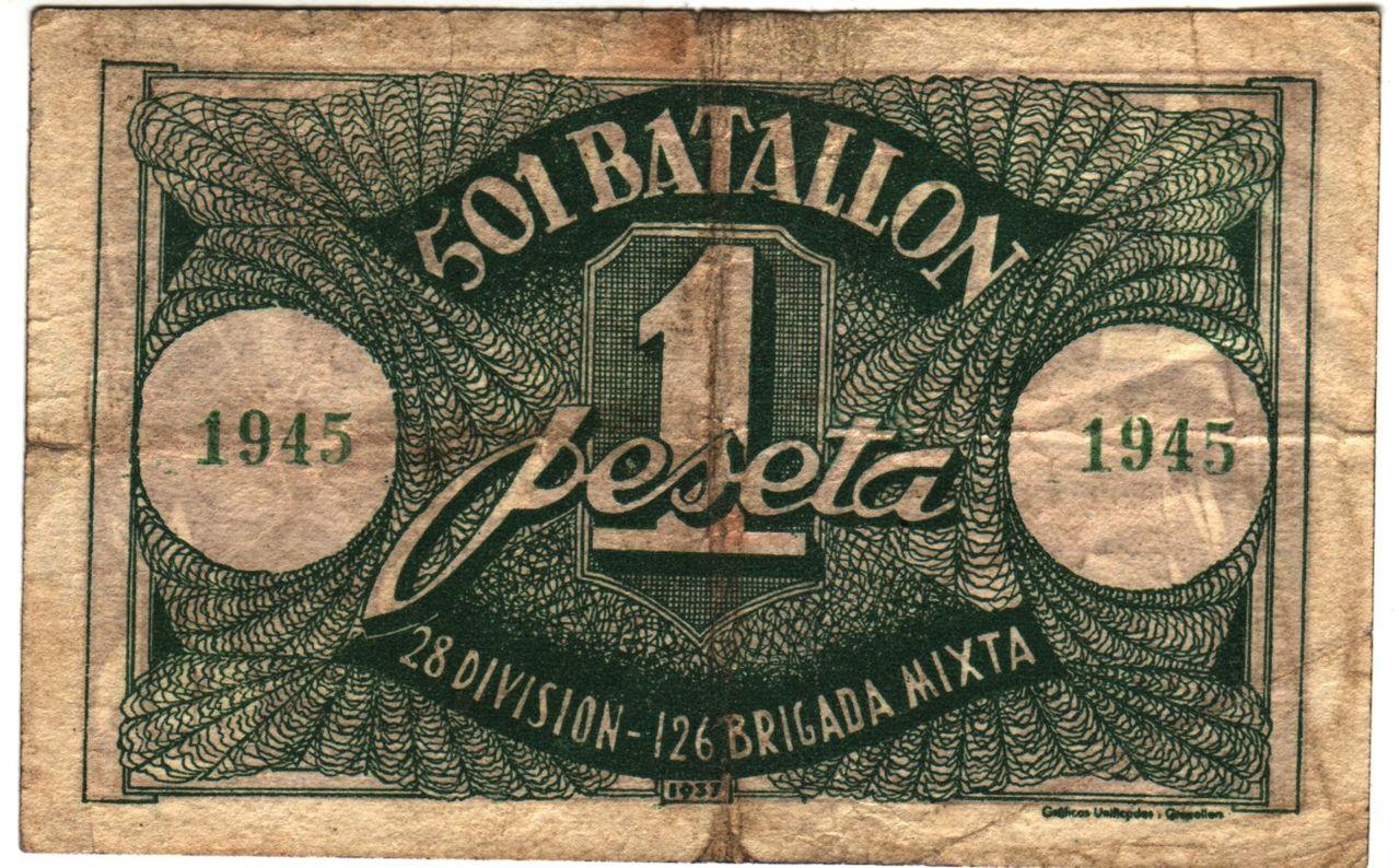 1 Peseta Batallon 501 - 28 Division  501b