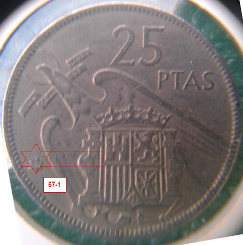 Geometría de las estrellas de las monedas de 25 pesetas 1957* 67_1_E