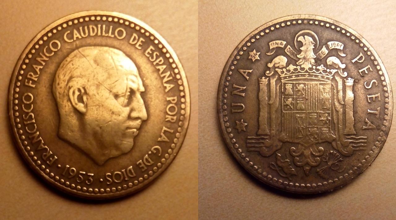 1 peseta 1953 (*19-54). Estado Español Peseta