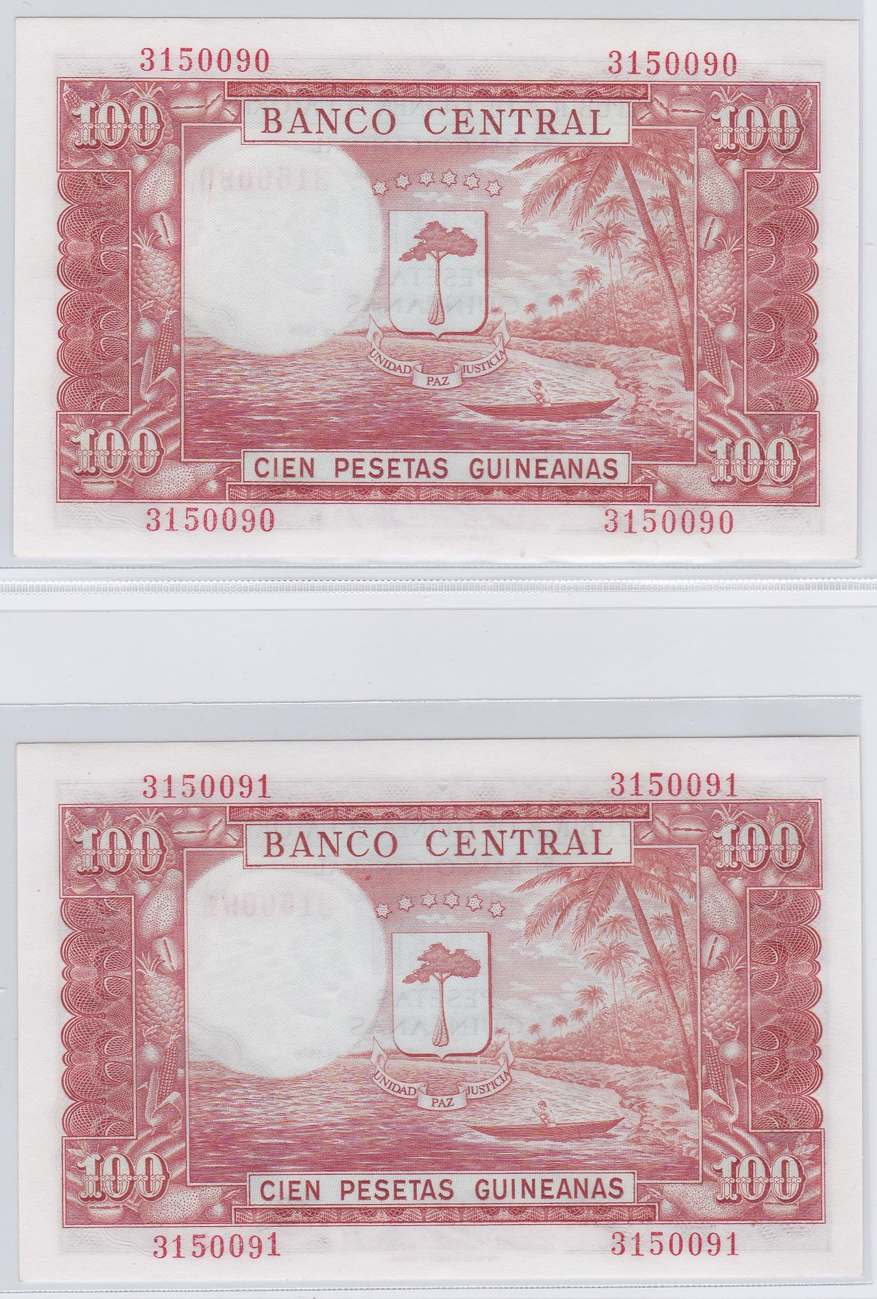 100 Pesetas Guinea Ecuatorial, 1969 (Pareja) 1969_100_pesetas_guineanas_R