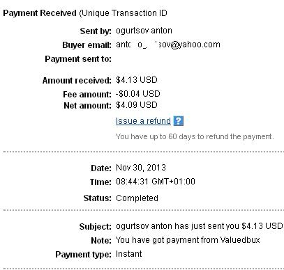 4º Pago de Valuedbux ( $4,13 ) Valuedbuxpayment