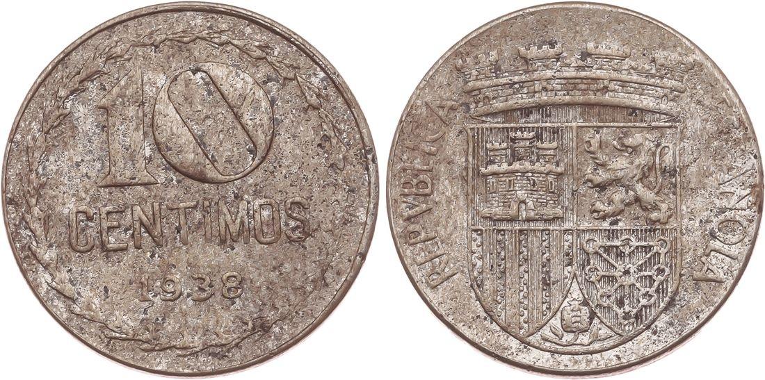 10 céntimos 1938. II República. Image