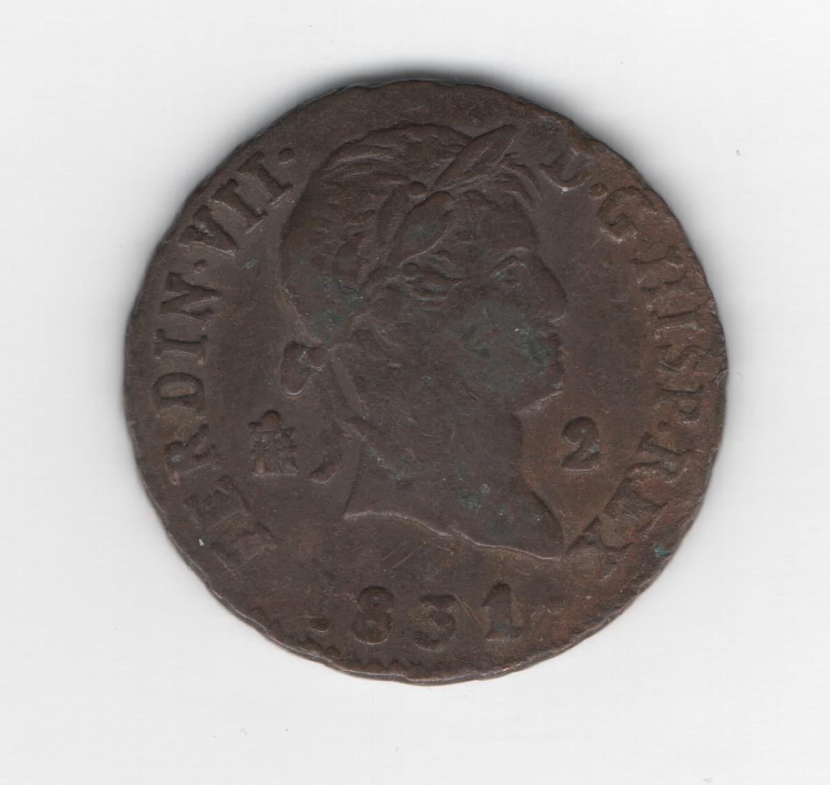 2 Maravedis 1831 Fernando VII Segovia 2_maravedis_1831_Segovia